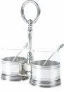 Vagabond House Pewter Condiment Jar Double with Spoon - Classic