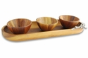 Vagabond House Wood Tray Oval with Bowls- Olive
