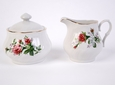 Victorian Rose Porcelain Sugar and Creamer Set