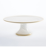 Vietri Alabaster White Small Footed Cake Stand with Gold Edge