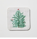 Vietri Lastra Holiday Green & White Striped Reversible Coasters - Set of 4
