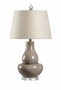 Vietri Matteo Lamp - Hand Thrown Grey Italian Ceramic with Clear Acrylic Mounting