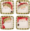 Vietri Old St. Nick Assorted Square Salad Plates (4)
