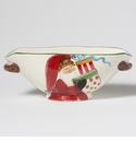 Vietri Old St. Nick Handled Oval Bowl with Presents
