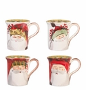 Vietri Old St. Nick Mugs Assorted Set of 4