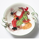 Vietri Old St. Nick Scallop Handled Bowl with Sleigh