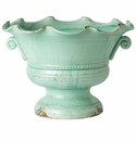 Vietri Rustic Garden Aqua Large Scalloped Footed Cachepot