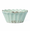 Vietri Rustic Garden Aqua Scalloped Oval Planter