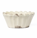Vietri Rustic Garden Cream Scalloped Oval Planter