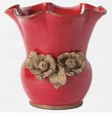 Vietri Rustic Garden Red Scalloped Planter With Flowers
