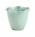 Vietri Rustic Garden Terrace Small Aqua Scalloped Cachepot