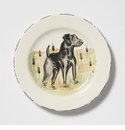 Vietri Wildlife Black Hunting Dog Salad Plate