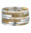 Vivo Studios Set Of 7 Buffalo Bangles With Silver Leaf