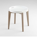 White Lacquered Wood Round Side Table by Cyan Design
