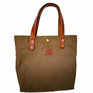 White Wing Leather & Waxed Canvas Medium Tote (Charcoal)