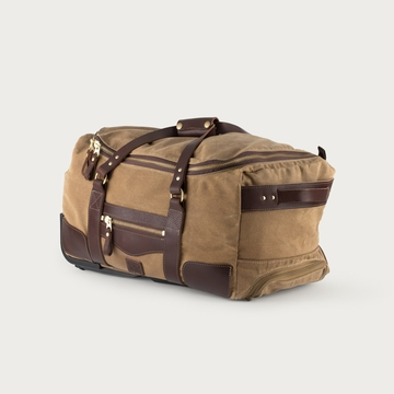 White Wing Waxed Canvas Rolling Carry On Duffel Bag