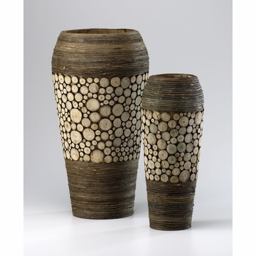 Wood Slice Oblong Wood Vases by Cyan Design