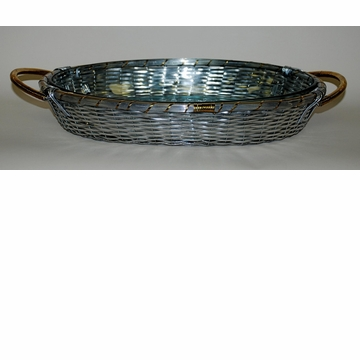 Dessau Home Woven Aluminum Oval Pyrex Baker with Brass Accents Home Decor