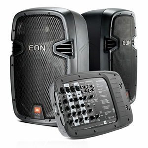 "JBL EON 210P Portable Self-Powered 10"" Two-Way system with detachable powered mixer"