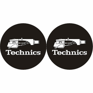 Technics Headshell Slipmats- Silver Headshell on Black mat (pair)