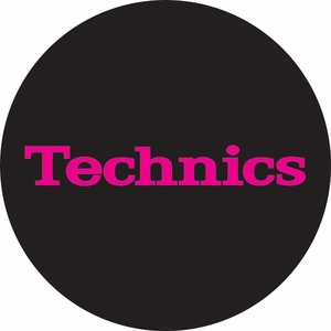 Technics Logo Slipmats-Pink on Black (pair)