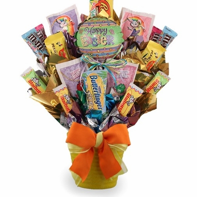how to make candy bouquet gift baskets