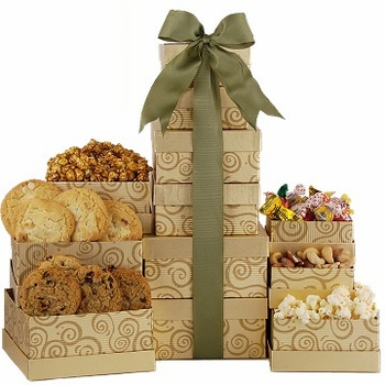 Holiday Gold Gift Tower
