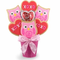 Hoo's Your Valentine Cookie Bouquet