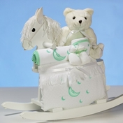 Rocking Horse & Layette Baby Gift