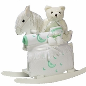 Rocking Horse & Layette Baby Gift (available in Pink, Blue or Neutral)
