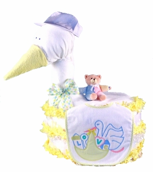 Stork Delivers Baby Shower Diaper Cake (available in pink, blue & neutral)