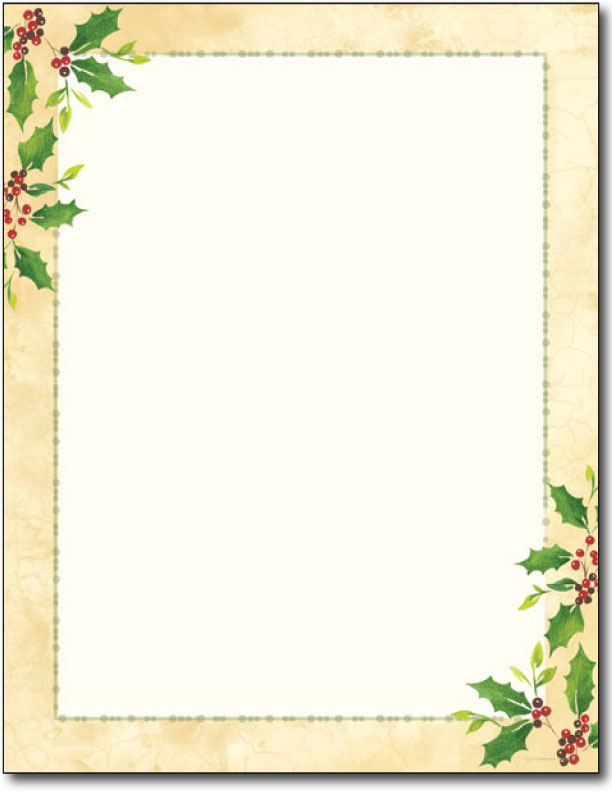 Falling holly holiday letterhead 80 sheets holiday paper christmas stationery for Holiday letterhead