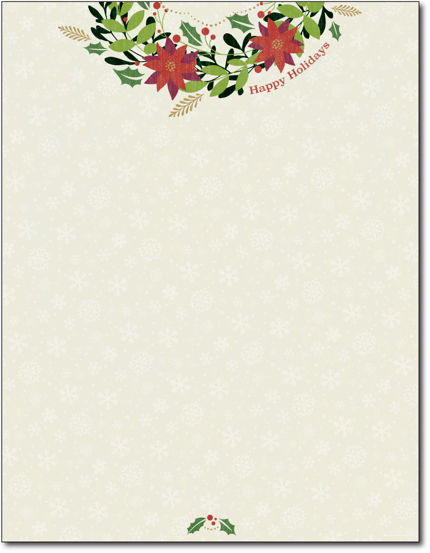 Happy holiday wreath letterhead 80 sheets holiday for Christmas letter head paper