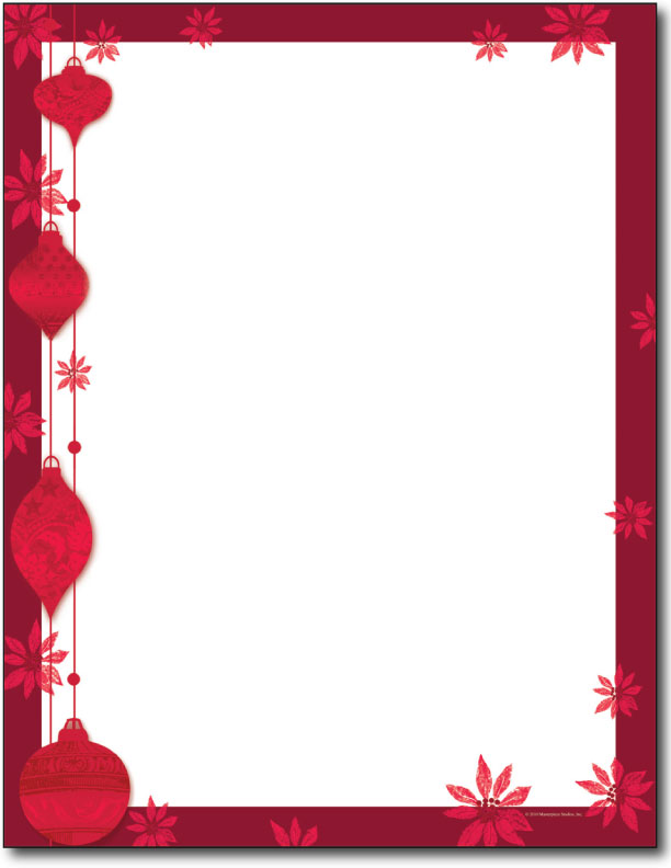 Painted poinsettia holiday letterhead 80 sheets for Christmas letter head paper