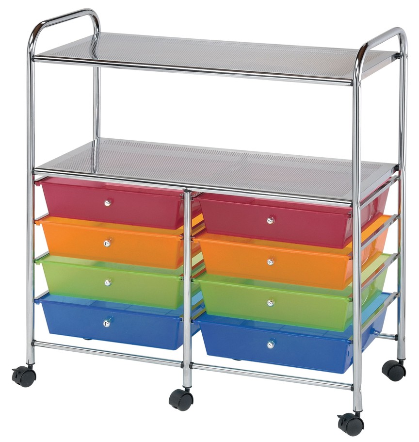 8 drawer rolling storage carts shelves by alvin for Rolling craft cart with drawers