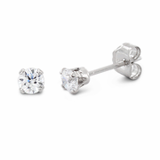 0.25 ct Sterling Silver CZ Stud Earrings 3MM