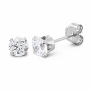 0.5 ct Sterling Silver CZ Stud Earrings 4mm