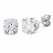 1.5 ct Sterling Silver CZ Stud Earrings 6MM