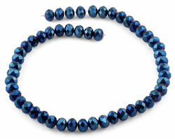 10mm Blue Faceted Rondelle Crystal Beads