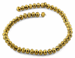 10mm Gold Faceted Rondelle Crystal Beads