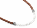 "16""Sterling Silver w/ Brown Braided Leather and Pearl Necklace"
