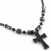 "18"" Black Double Cross Hematite Necklace"
