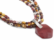 "18"" Sterling Silver and Mookaite Beads Necklace"