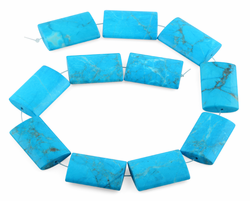 25x35MM Turquoise Howlite Rectangle Gemstone Beads