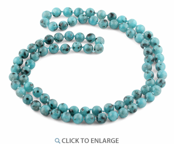 "32"" 8mm Aqua Quartz Round Gemstone Bead Necklace"