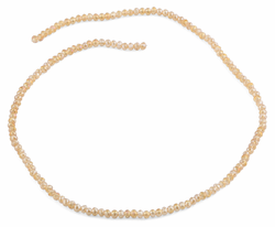 3mm Beige Faceted Rondelle Glass Beads