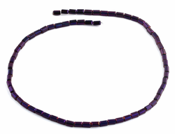 3X6mm Dark Purple Rectangle Faceted Crystal Beads