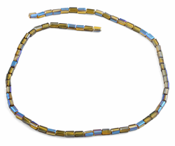 3X6mm Yellow and Blue  Rectangle Faceted Crystal Beads