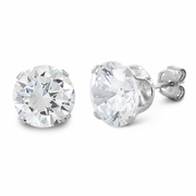 4 ct Sterling Silver CZ Earrings 8MM