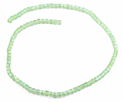 4x4mm Green Square Faceted Crystal Beads